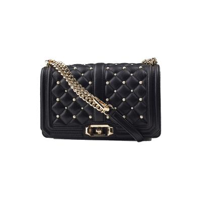 1fd6b77e32e92 ... bag yellow LOVE FAUX-PEARL QUILTED LeaTHER black